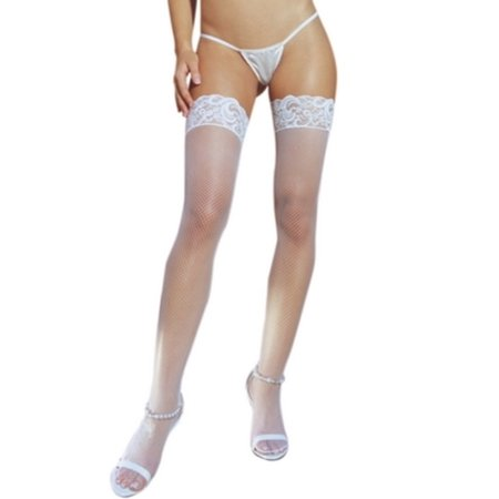5df9dbf4a40 Dreamgirl - Dreamgirl White Fishnet Lace Top Thigh High White One Size Fits  All, One Size Fits All - Walmart.com