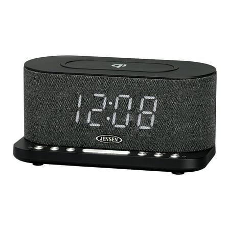 JENSEN QiCR-50 Dual Alarm Clock Radio with Wireless QI