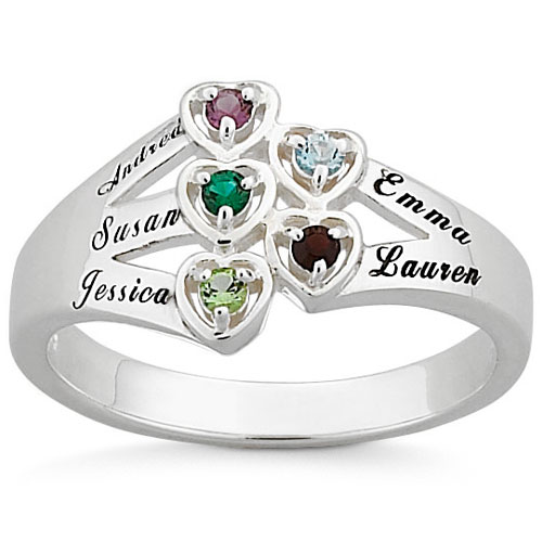 Personalized Sterling Silver or 18K Gold over Silver Family Heart Ring