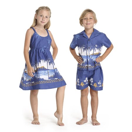 Matching Boy and Girl Siblings Hawaiian Luau Outfits in Diamond Head Palm Beach in Navy Girl 10 Boy 6