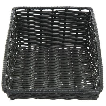 Wicker Look Tapered Storage Basket, Rectangular Black - 11 1/2 L x 20