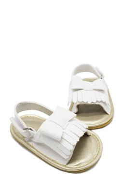Summer Baby Toddler Girls Leather Tassel Crib Shoes Moccasins Sandals (12/6-12 Months, Green)