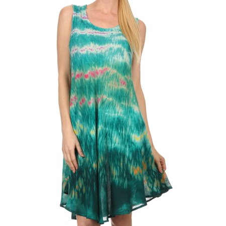 Short Caftan - Sakkas Nora Sleeveless Embroidered Short Tie Dye Caftan Dress / Cover Up - Teal - One Size Regular