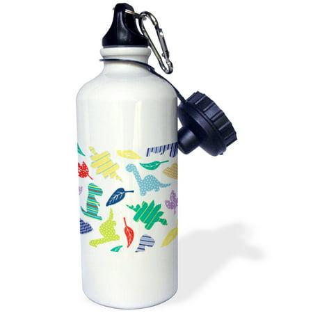 3dRose Cute White Colorful Dinosaur Pattern, Sports Water Bottle, 21oz