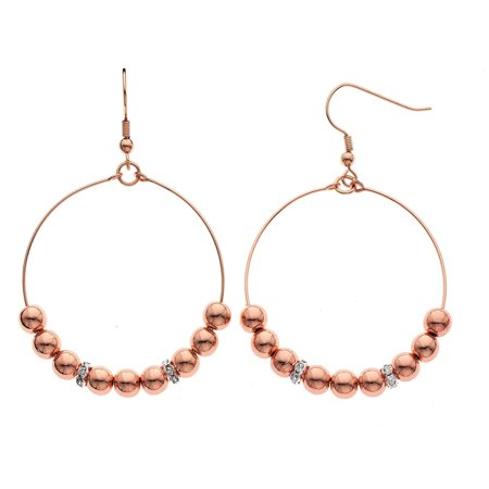 9k Rose Earrings (Isla Simone  14K Rose Gold Plated 6mm Round Bead with Crystal Rondell Earring)