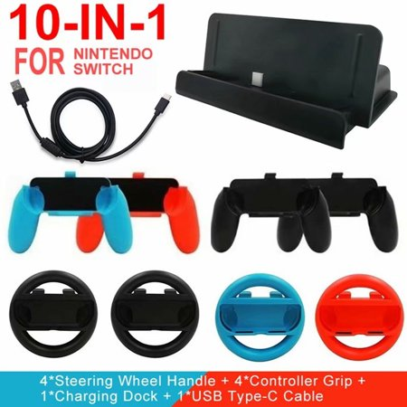 VicTsing 10-in-1 Game Accessories for Nintendo Switch Steering Wheel Handle Controller Grips Charging Dock USB Type-C Cable (Steering Wheel Controller For Ps3)
