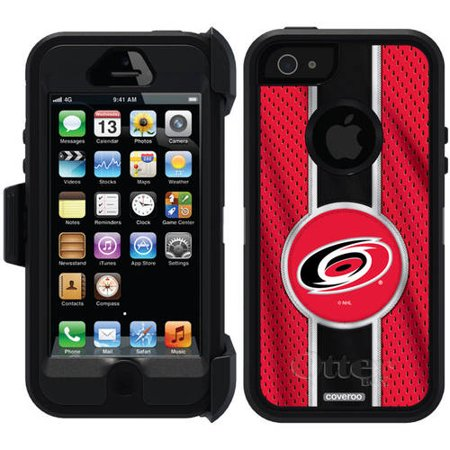 Carolina Hurricanes Jersey Stripe Design on OtterBox Defender Series Case for Apple iPhone 5 5s by