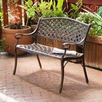Belleze Antique Copper Outdoor Garden Bench Patio Seat Cast Aluminum