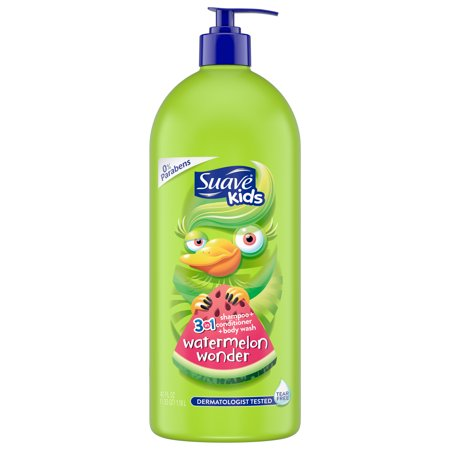 (2 pack) Suave Kids Watermelon 3 in 1 Shampoo Conditioner Body Wash, 40 oz