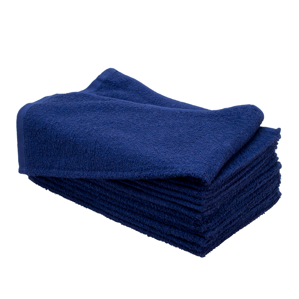 "Altima Plus 16"" x 27"" 12 Pack Bleach Chemical Resistant Cotton Salon Towels, NAVY BLUE, 78612"