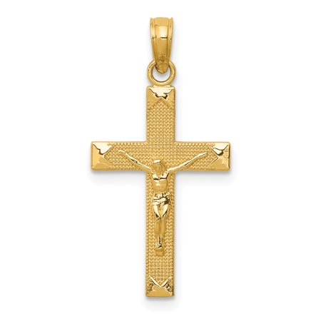 14k Yellow Gold Beveled Tipped Crucifix Cross Religious Pendant Charm Necklace Latin Gifts For Women For Her