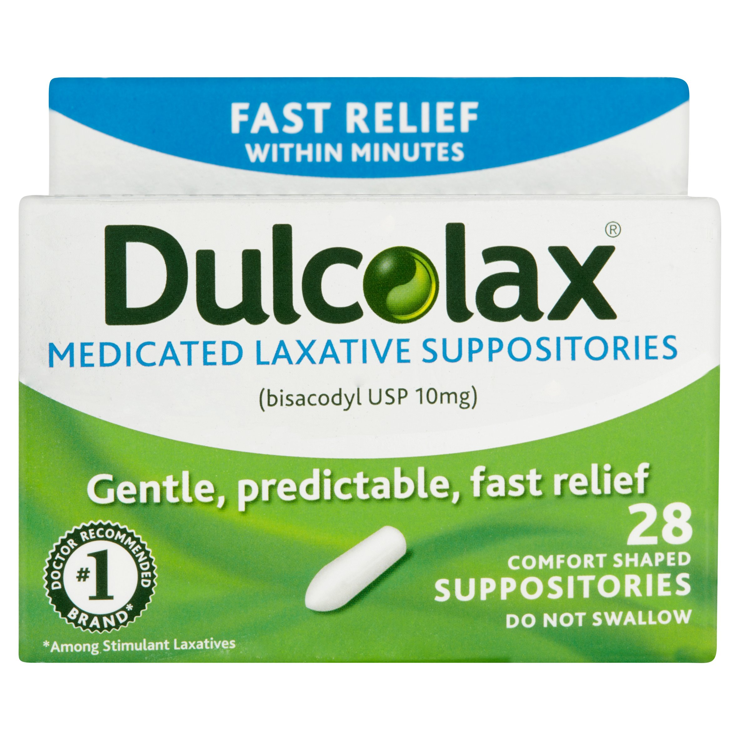 Dulcolax Medicated Laxative Suppositories 28ct, bisacodyl USP 10mg