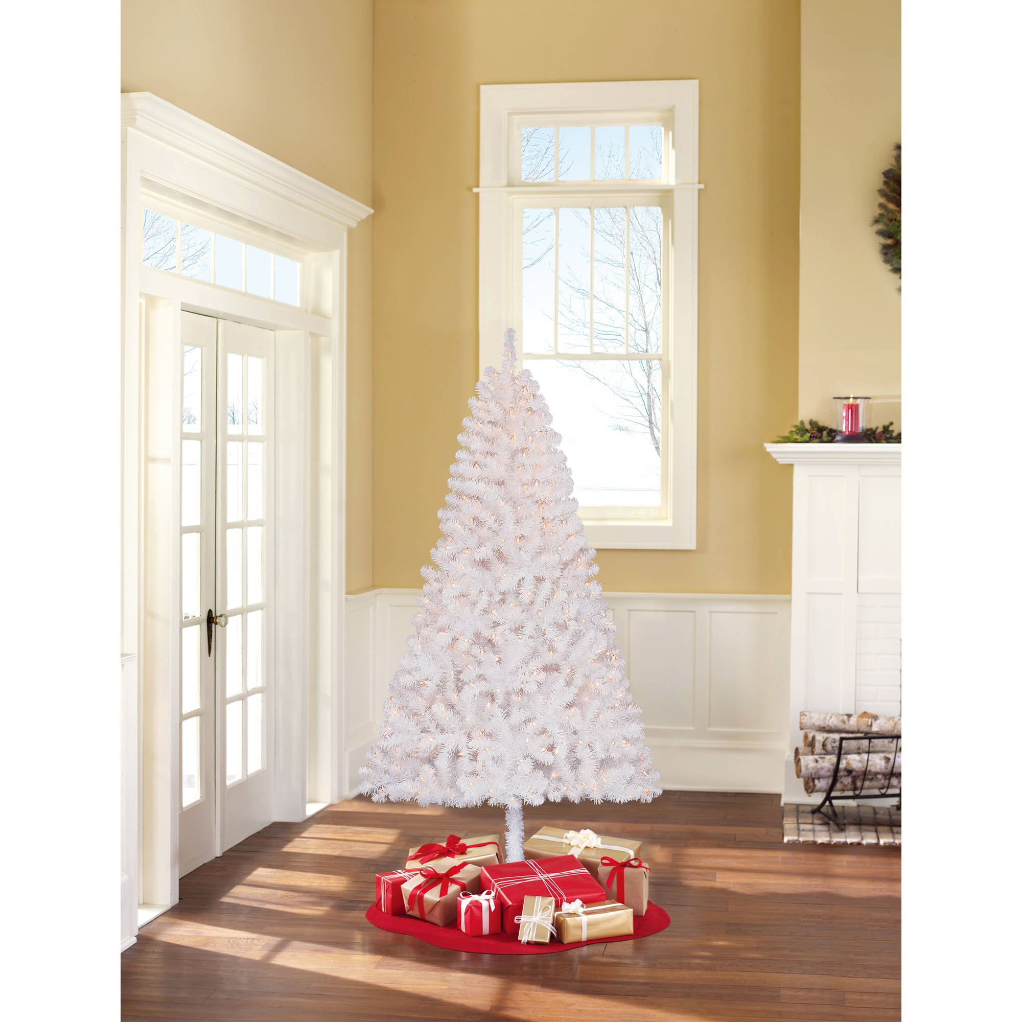 holiday time pre lit 4 teal blue artificial christmas tree clear lights walmartcom - Pre Lit Christmas Trees