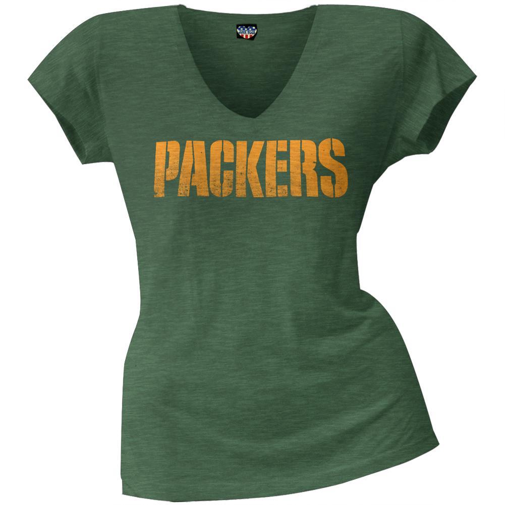 Green Bay Packers - Scrum Logo Juniors Premium V-Neck T-Shirt
