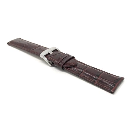 20mm Mens' Alligator Style Leather Watch Band Strap, Glossy Finish, Stainless Steel Buckle - image 5 de 7