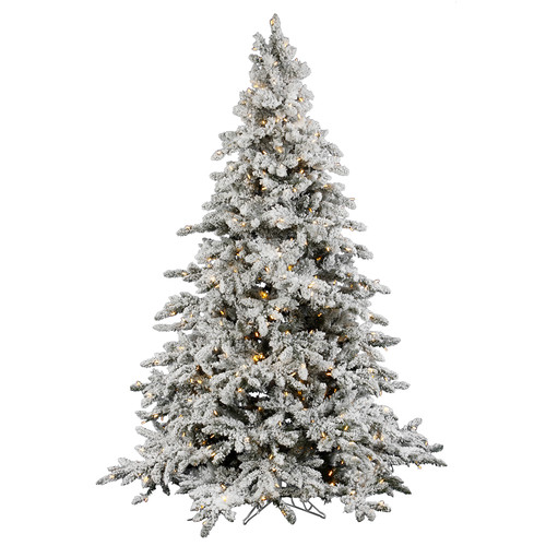 "Pre-Lit 7.5' x 65"" Utica Artificial Christmas Tree, Flocked White on Green, White Lights"