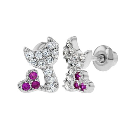 Rhodium Plated Hot Pink Clear CZ Cat Kitty Heart Screw Back Infant Kids Earrings - Hot Pink Kitty
