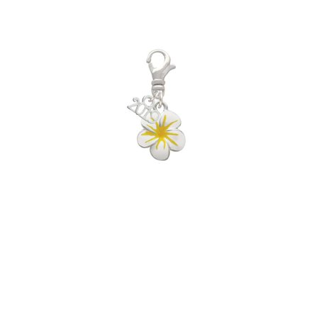 Silvertone White and Yellow Flower - 2019 Clip on Charm