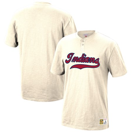 the best attitude b1e3f 180c4 Cleveland Indians Mitchell & Ness Two-Button Slub Henley T-Shirt - Cream