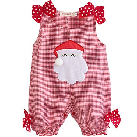 YiZYiF Christmas Santa Claus Costume Baby Boys' Girls' Plaid Romper Girls Bow 9-12 Months - image 1 de 1