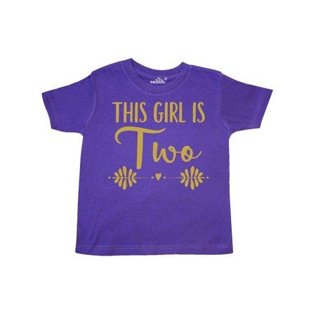 2nd Birthday Shirt (2nd Birthday Girls Gold Lettering 2 Year Old Toddler)