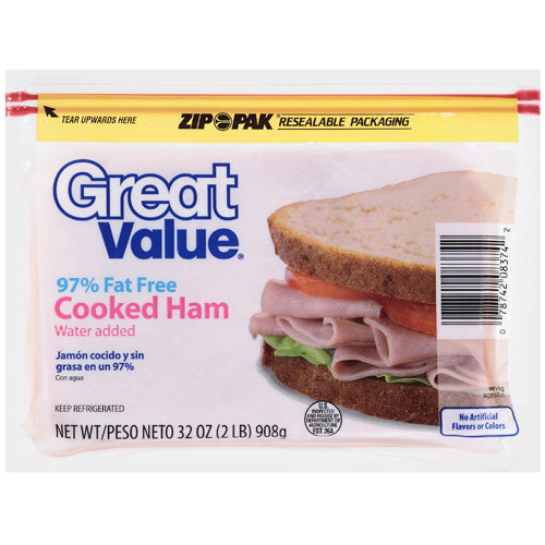 Great Value Cooked Ham, 97% Fat Free, 32 oz