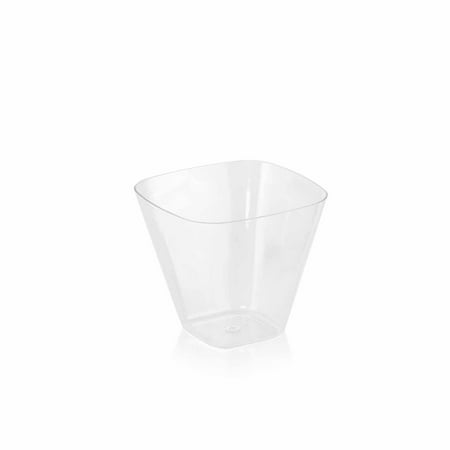 Clear Swivel Glass (BalsaCircle Clear 24 pcs 4 oz Disposable Plastic Dessert Drink Cups Glasses - Wedding Reception Party Buffet Catering Tableware)