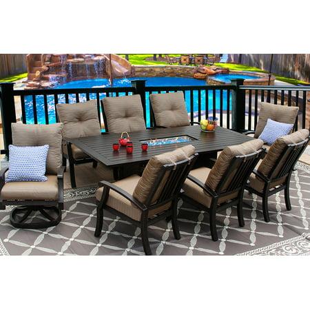 Garden Patio 9PC Set Swivel Rocker Dining Chairs big RECT FIRETABLE ()