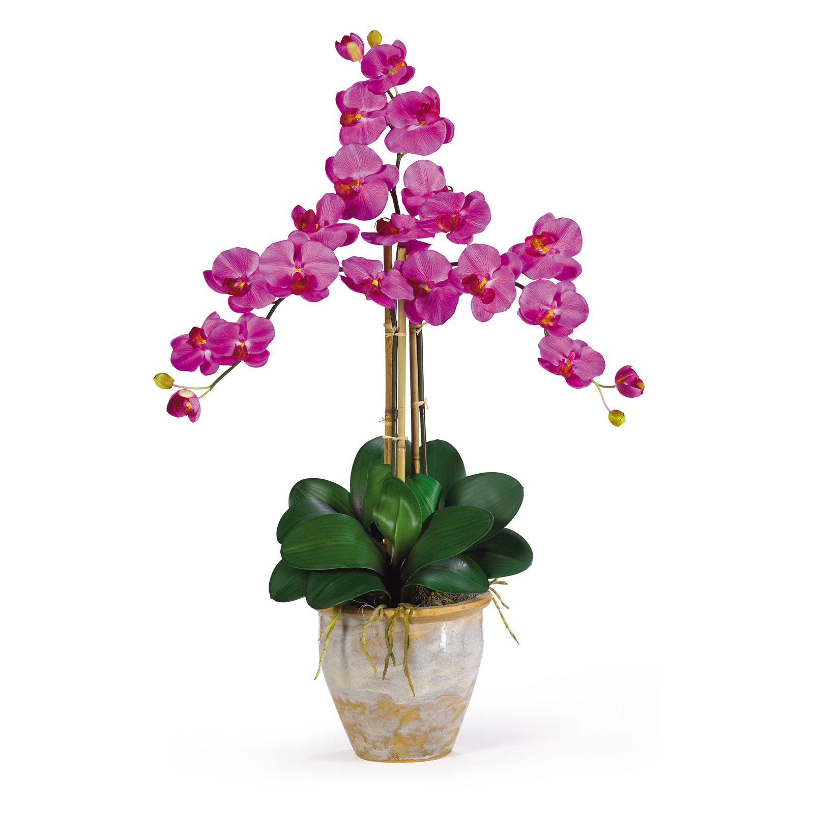 Nearly Natural Triple Phalaenopsis Silk Orchid Flower Arrangement, Orchid
