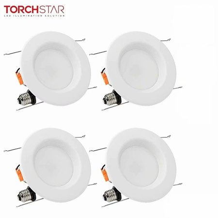 TORCHSTAR 4 Pack 6 Inch 15W Dimmable Recessed LED Downlight with Baffle Trim, LED Retrofit Lighting, 2700K Soft White