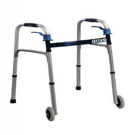 Drive Medical Trigger Release Folding Walker, Brushed (Mens Leisure Walker)
