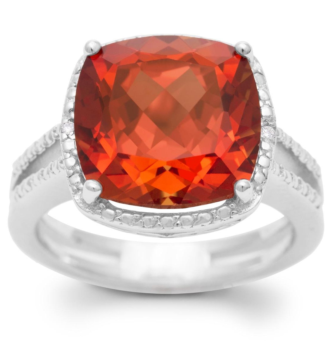 5 1/3 Carat Split Shank Cushion Cut Created Padparadscha Sapphire and Diamond Ring In Sterling Silver - 6.5