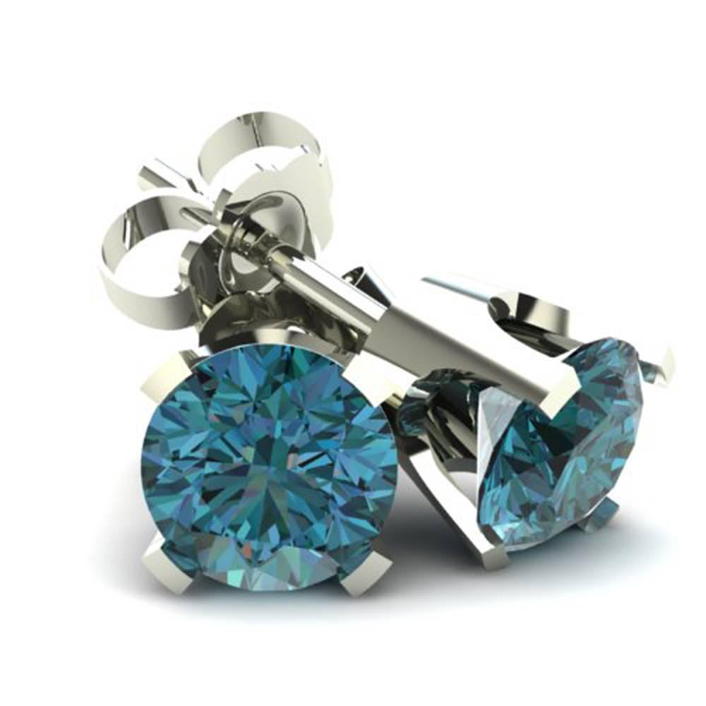 1 00ct Round Brilliant Cut Heat Treated Blue Diamond Stud Earrings In 14k Gold