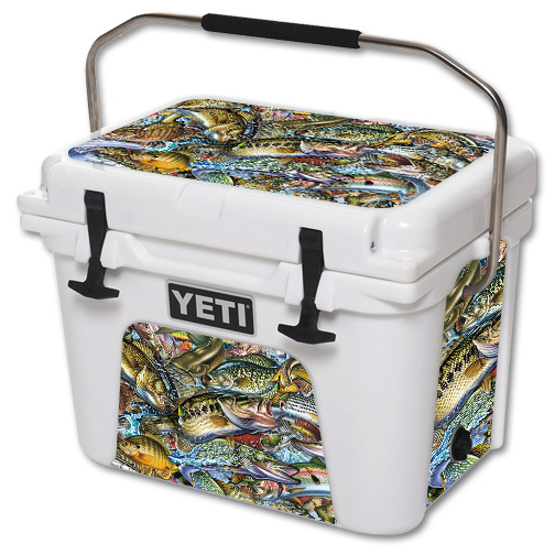 Skin For YETI Roadie 20 qt Cooler – Action Fish Puzzle | MightySkins Protective, Durable, and Unique Vinyl Decal wrap cover | Easy To Apply, Remove, and Change Styles | Made in the USA