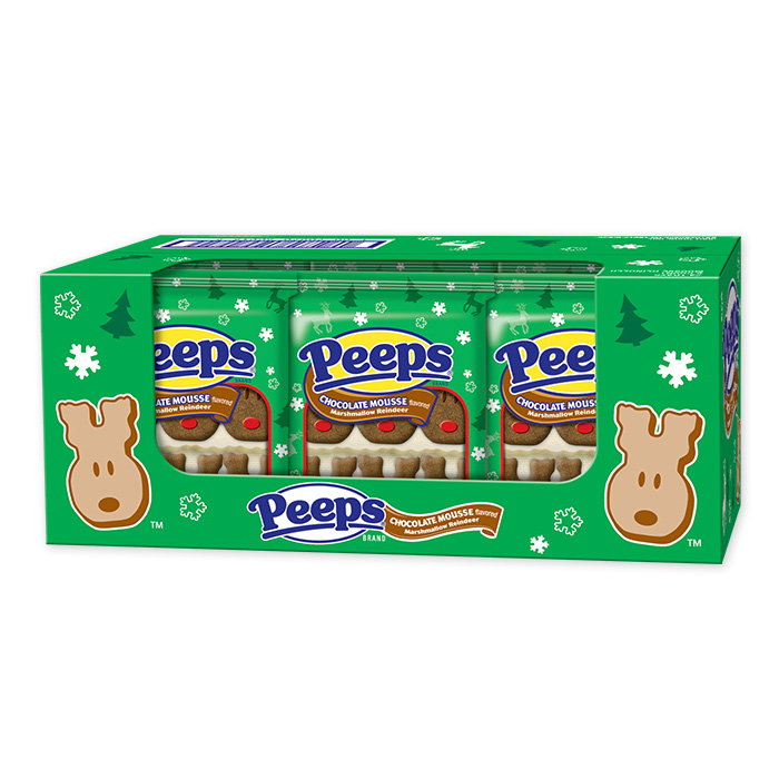 Peeps Chocolate Mousse Flavored Marshmallow Reindeer 6 Ct. x 24 Packs 144 Total Peeps Holiday Christmas