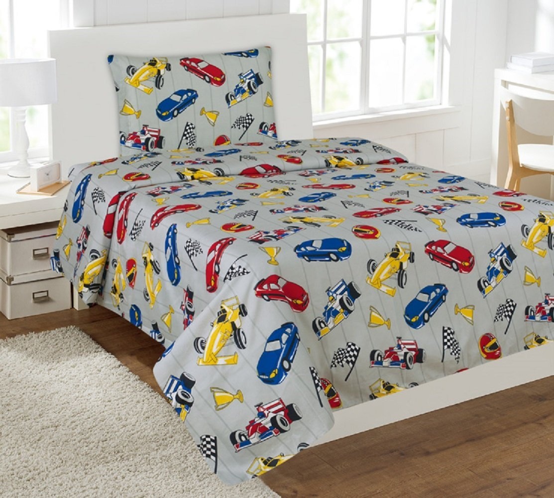 Wpm Race Car Red Blue Print Bedding Set Choose From Full Twin Comforter Or Bed Sheets Or Window Curtains Panels For Kids Girls Boys Room Full Sheets Walmart Com Walmart Com