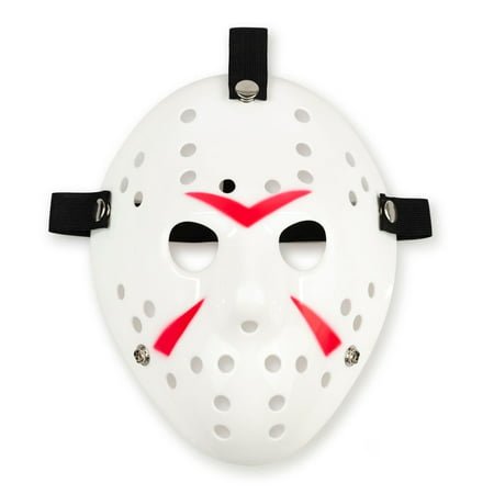 Jason Hockey Mask | White Friday The 13th Mask | Sized for Adults & Teens (Scary Hockey Mask)
