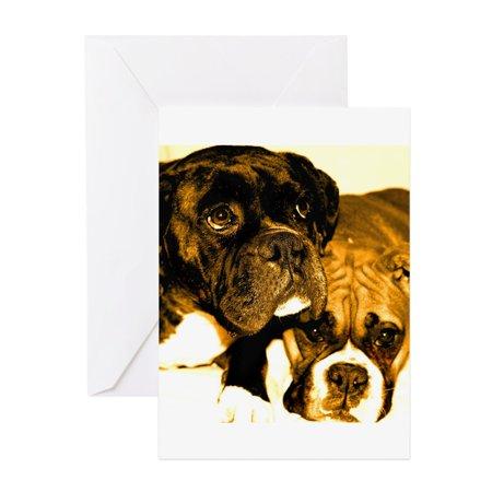 CafePress - Boxer Dog Friends - Greeting Card, Blank Inside Glossy