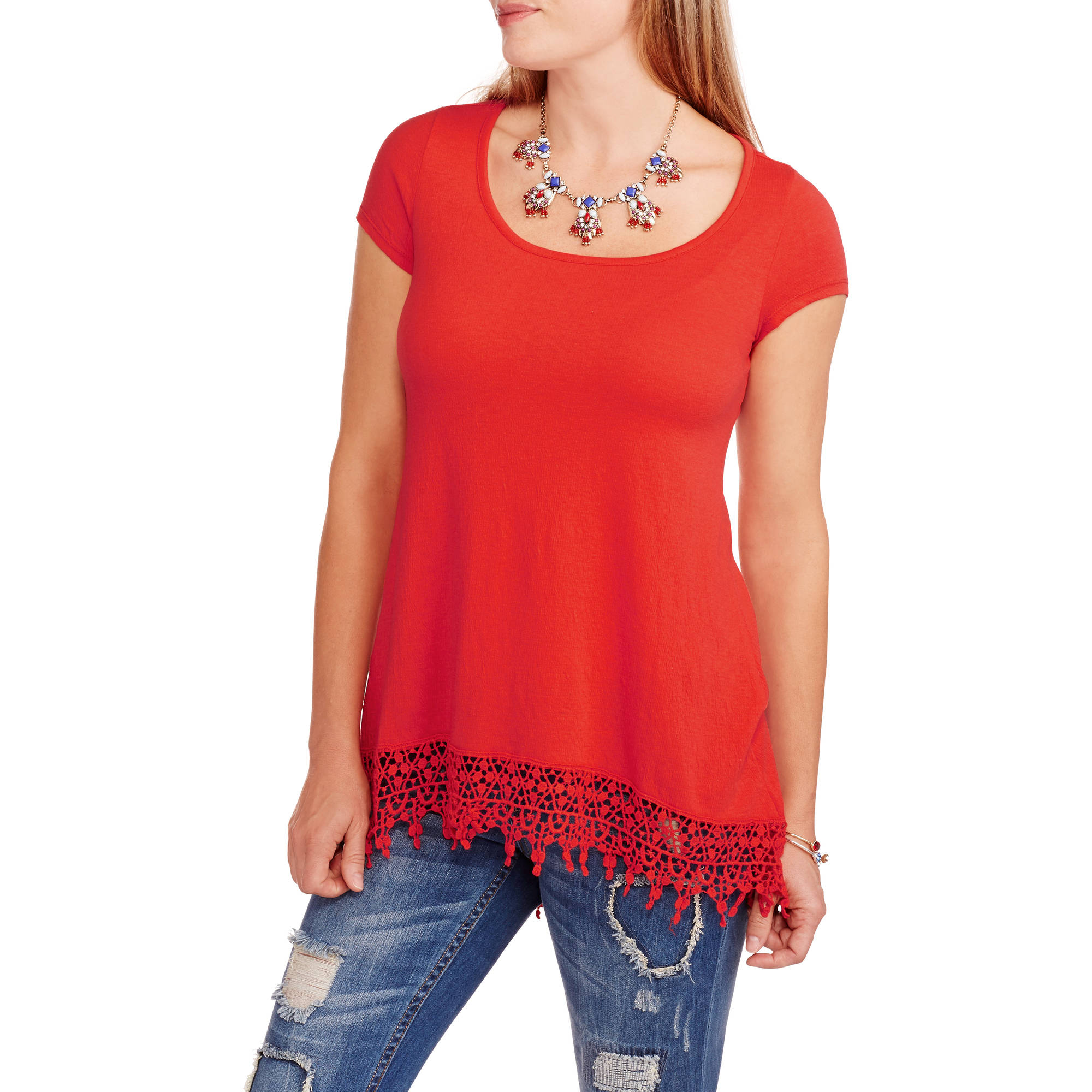 French Laundry Women's Hi-Lo Tee with Crochet Trim