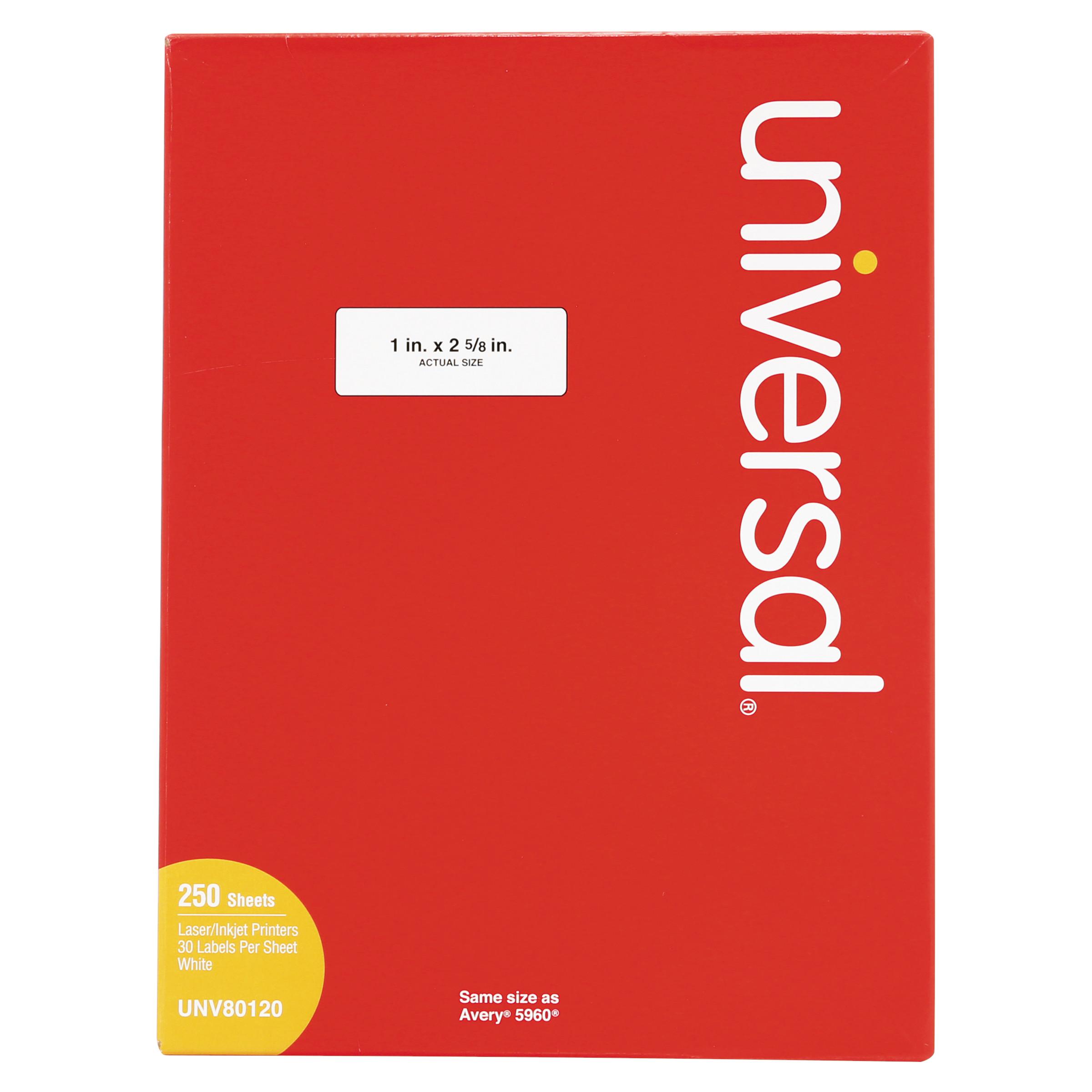 Universal Laser Printer Permanent Labels, 1 x 2 5/8, White, 7500/Box -UNV80120