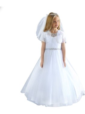 af99e8f5518c Product Image Angels Garment Girls White Detailed Beadwork Flower Girl  Communion Dress