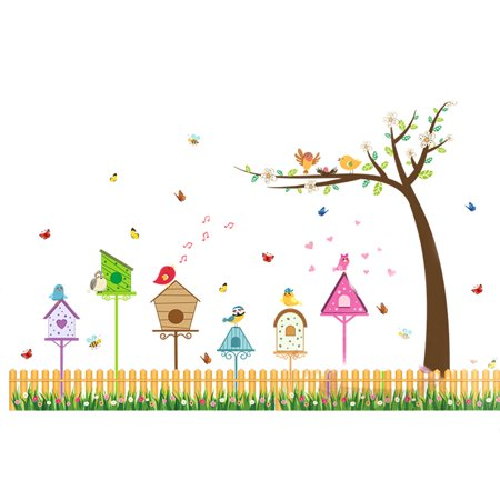 PVC Fence Birds Pattern Self-adhesive Decoration Wall Sticker - Fence Decorations