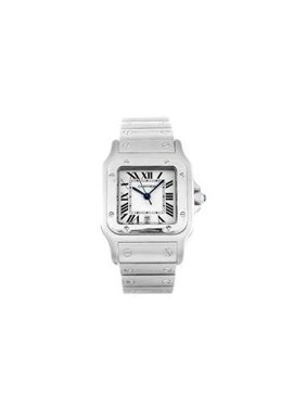 Cartier Santos Silver Roman Square Dial Date Steel Quartz Mens Watch W20060D6