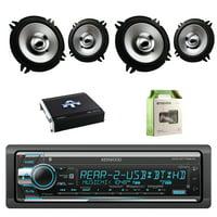 Kenwood Single Din CD/AM/FM Car Audio Receiver W/Bluetooth with Kenwood 5.25 Inch 250-Watt Sports Series Flush Mount Black Car Coaxial Speakers 2-Pairs, Autotek Amplifier & Enrock Amplifier Wiring Kit