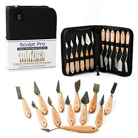 Palette Painting Knife Set- 12 Stainless Steel Art Palette Knives with Carrying (Knife Painting Art)