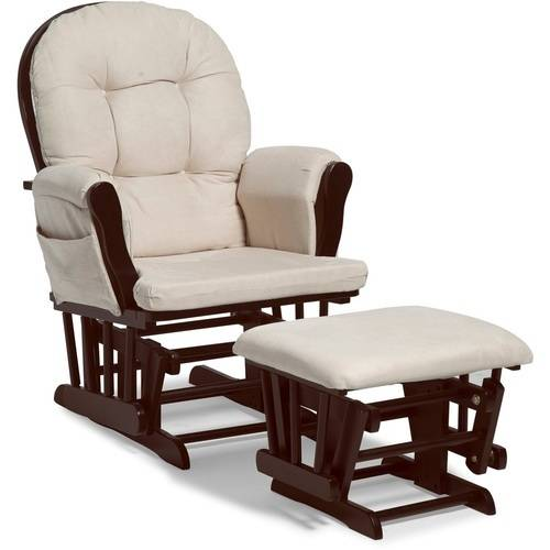 Storkcraft Bowback Glider Rocker and Ottoman, Beige Cushions, Espresso Finish