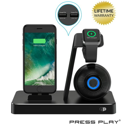 Ipod Speakers Docking Station - ONE Dock BEAT [Apple Certified] Power Station + Wireless Speaker Dock, Stand & Charger for Apple Watch Smart Watch, iPhone, iPad & iPod w/ Original Lightning Connector