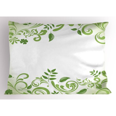 Green Leaf Pillow Sham Victorian Garden Theme Frame Abstract Curls Floral Vintage Design, Decorative Standard Size Printed Pillowcase, 26 X 20 Inches, Fern Green Apple Green, by Ambesonne