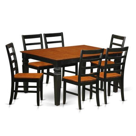 Wood Seat Kitchen Set with One Weston Dining Room Table & 6 Chairs, Luxurious Black - 7 Piece ()