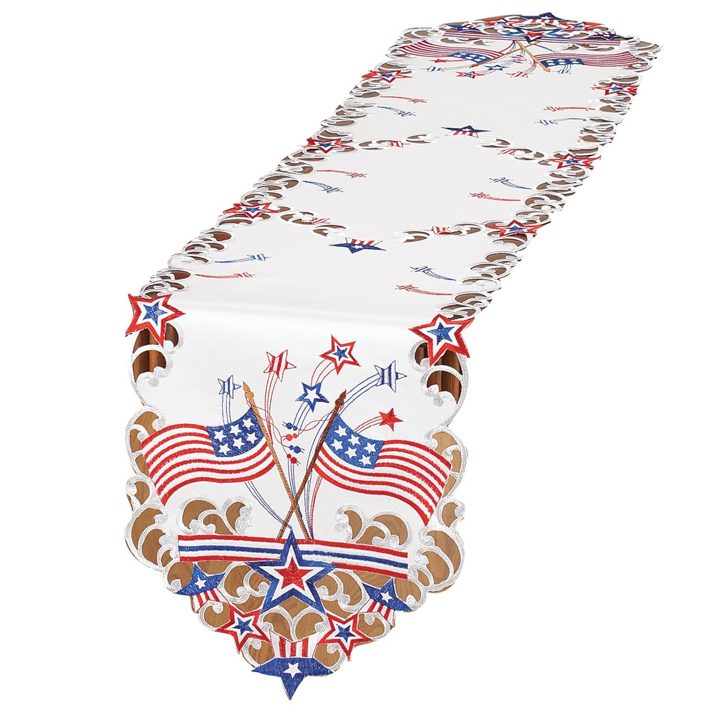 Embroidered Americana Flag Table Linens, Square by Collections Etc